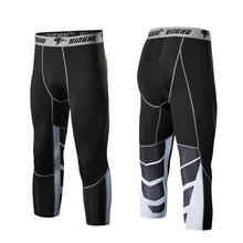 Men Running Pants GYM Fitness Compression Tights 3/4 Sports