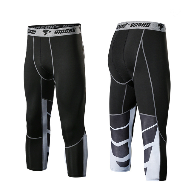 4ec3abcba91dc9 Men Running Pants GYM Fitness Compression Tights 3/4 Sports Pants Football  Basketball Soccer Shorts