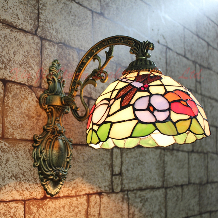 Tiffany  European Mediterranean  Dragonfly mirror wall lamp bedside  lamp Tiffany  European Mediterranean  Dragonfly mirror wall lamp bedside  lamp