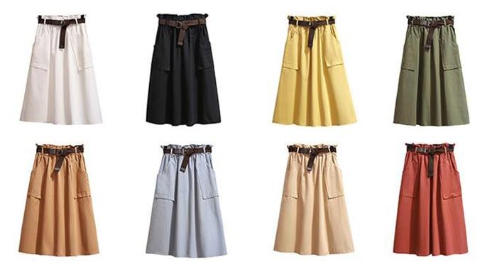 Surmiitro Midi Knee Length Summer Skirt Women With Belt 19 Spring Casual Cotton Solid High Waist Sun School Skirt Female 4