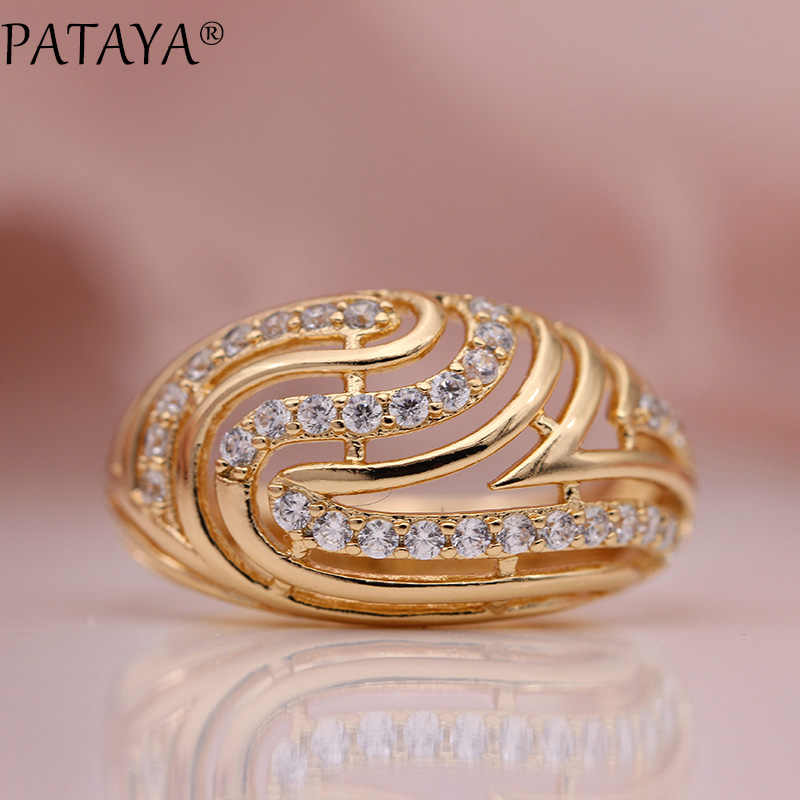 PATAYA New Women Hollow Rings 585 Rose Gold Fine White Round Natural Zircon Classic Fashion Jewelry Engagement Party Gifts Ring