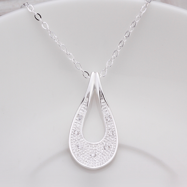 925 sterling silver jewelry fine fashion big hollow drop water pendant with stone necklace pendant for women wedding jewerly