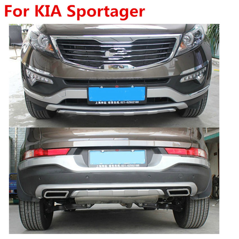Prix pour De haute qualité en plastique ABS Chrome Avant + Arrière couverture de butoir de garniture Pour 2011-2015 KIA Sportager