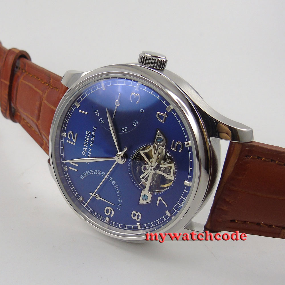 лучшая цена 43mm parnis blue dial power reserve ST automatic movement mens watch 547C