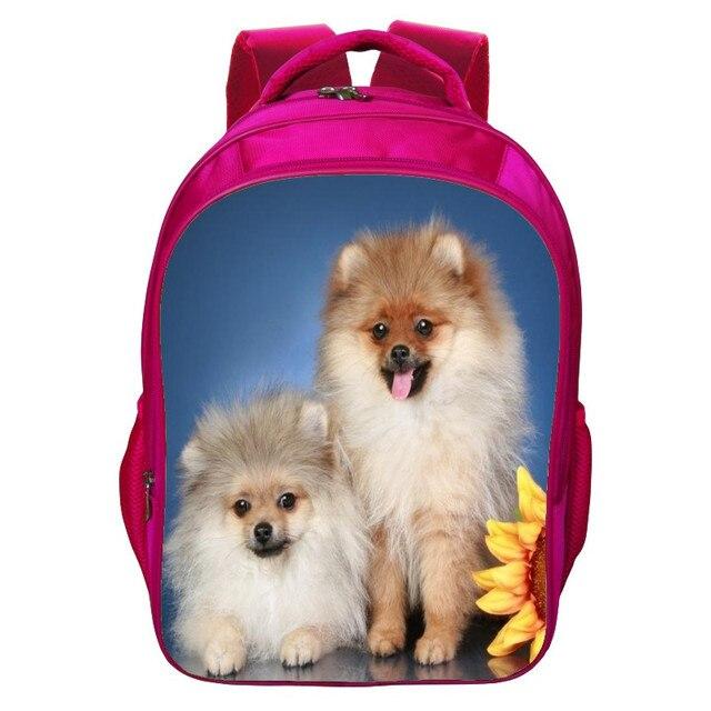 Factory Sale  Hot Sale Oxford 16-Inch Prints Animal Pet Children Backpacks Pink Girls School Bags for Teenagers Schoolbag Kids