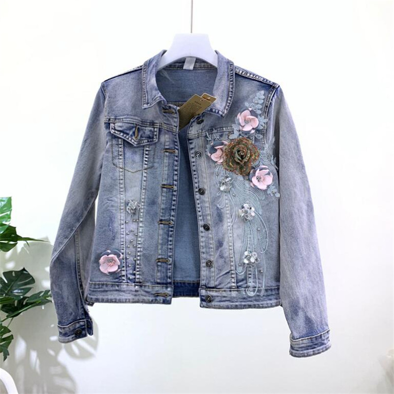 2019 Korean fashion Heavy three-dimensional flower beaded denim   jacket   female stretch short Jeans   jacket     basic     jacket   r942