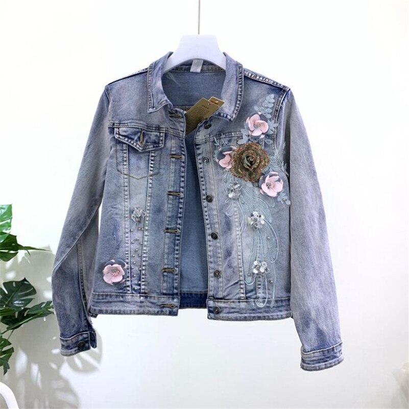 2019 Korean fashion Heavy three-dimensional flower beaded denim jacket female stretch short Jeans jacket basic jacket r942