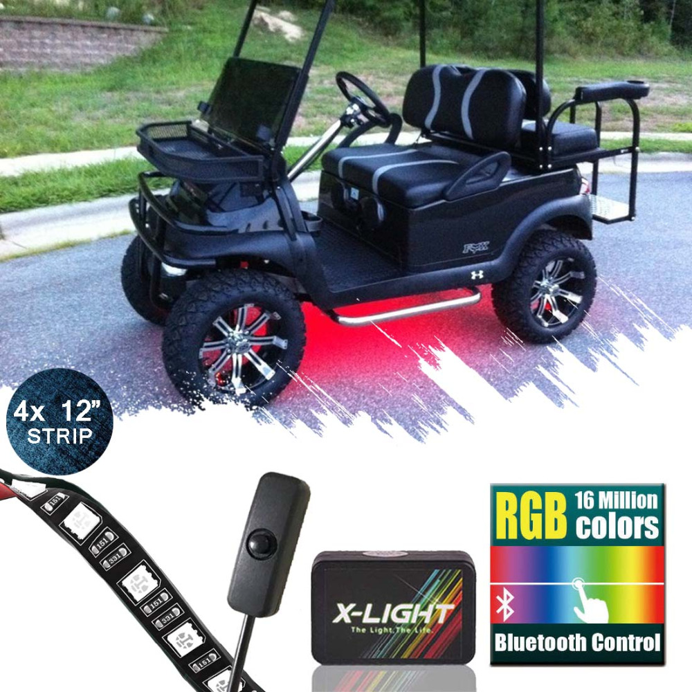 X-LIGHT <font><b>Bluetooth</b></font> Golf Cart Underbody Glow <font><b>LED</b></font> Lighting Kit | RGB Accent Neon <font><b>Strips</b></font> w/Switch | Music Active| Million Color