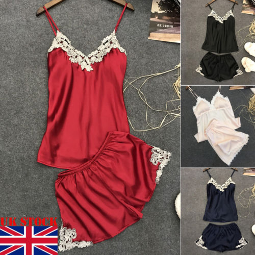 Pink Spaghetti Strap Lace Applique Satin Cami Top and Shorts Pajama Set Fall Womens Sleepwear Pajama Set