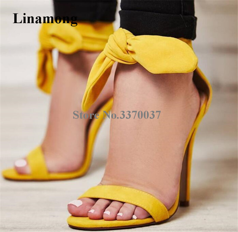 цена на Summer Beautiful Women Ankle Bowtie Suede Leather One Strap Sandals Yellow Pink Thin Heel Ankle Wrap High Heel Sandals