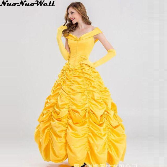 67edc32e0460 Deluxe Belle Giallo Vestito Da bella e la Bestia Belle Costume Fantasia  Delle Donne di Halloween