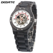 BEDATE 2017 Business Mechanical Watch 100% Natural Wooden Watch Simple Atmosphere Relogio Masculino Wrist Watch  ZS-W137B