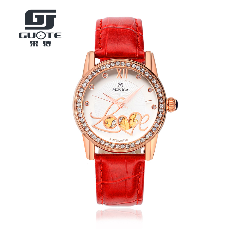 ФОТО GUOTE Quality Love Style Hollow Automatic Mechanical Watches Women Dress Watch Montres Femmes Ladies Popular Clock Reloj Mujer