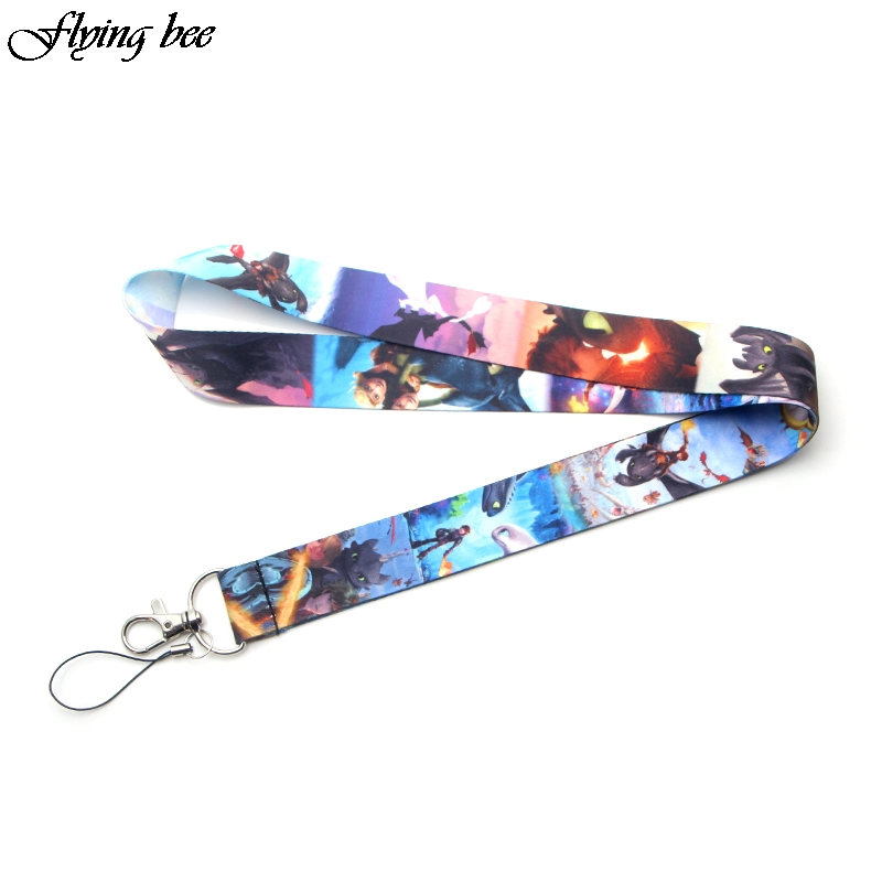 Flyingbee How To Train Your Dragon 3 Cartoon Phone Rope Lanyard For Keys ID Badge Holders Neck Straps With Keyring X0068