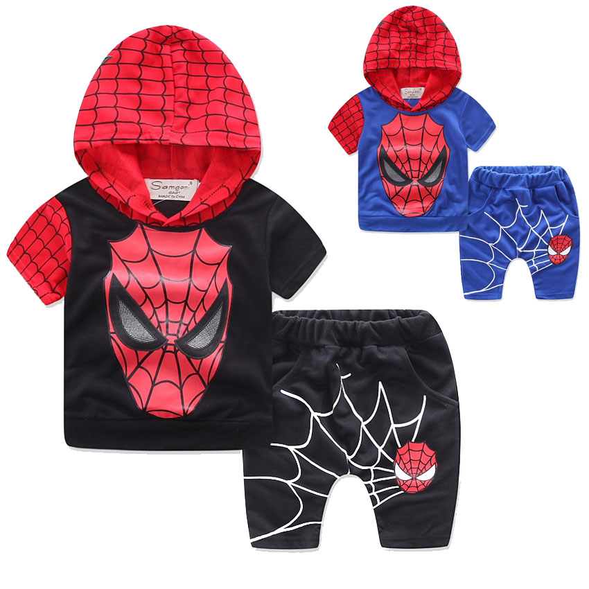 SAMGAMI BABY 2017 Summer Boys Hoodied Clothing Set Children Suit Boys Cartoon Spiderman Batman Suit,T-shirt + Shorts Pant 2Pcs boys batman clothing set kid superman short sleeve t shirt long jeans children summer cartoon superhero cosplay costume