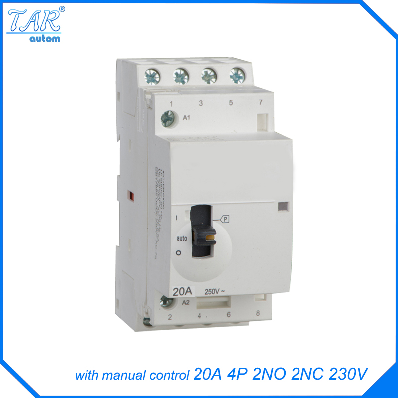 Modular miniature household AC contactor 20A 2NO 2NC 220V 4P With manual override switch 1 x 16mm od led ring illuminated latching push button switch 2no 2nc