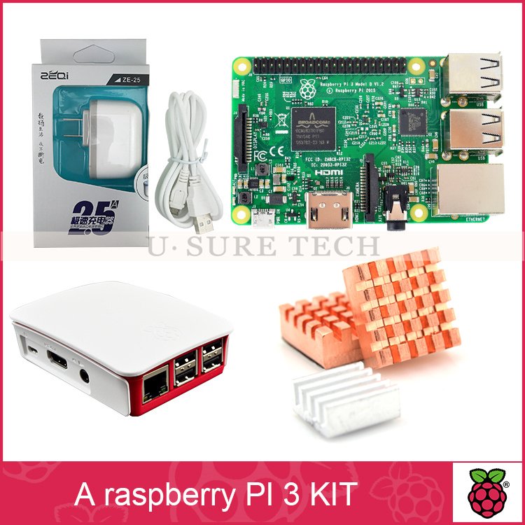 Raspberry Pi 3 Model B Board + Raspberry Pi 3 Original case + American Standard Power Supply + Heat Sink for Raspberry Pi 3 kit