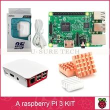 Raspberry Pi 3 Modèle B Conseil + Raspberry Pi 3 D'origine cas + Alimentation Standard américain + Dissipateur de Chaleur pour Raspberry Pi 3 kit