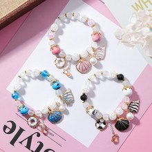 Han edition sweet shell sea wind ceramic bracelet with fresh colored glaze colorful crystal beaded
