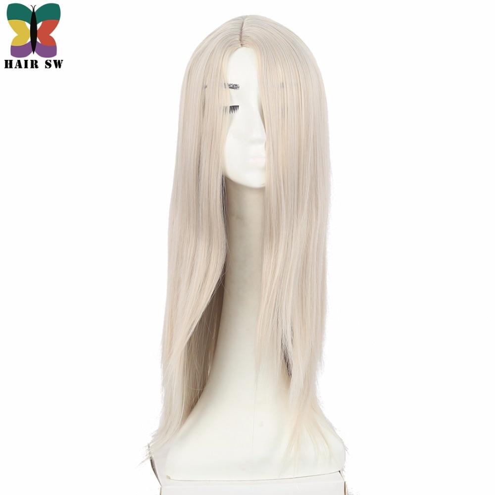 Lång på Ice Childhood Wig Cospaly Blond Syntetisk COS Tecken Wig - Syntetiskt hår - Foto 1