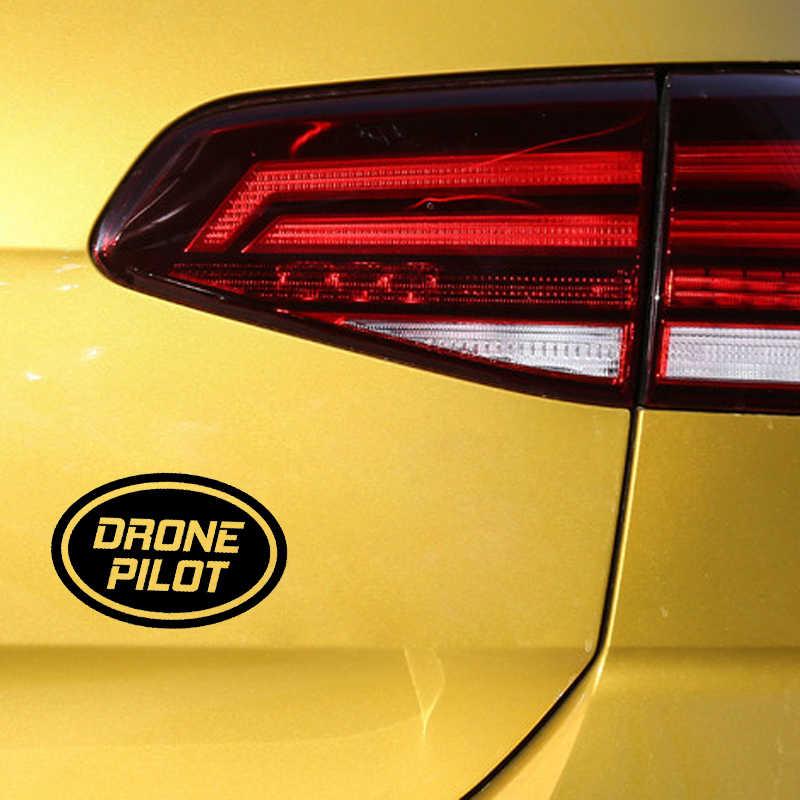 "YJZT 13.2CM*8.7CM "" DRONE PILOT "" Oval UAV Drone Vinyl Decal Car Sticker Black/Silver C3-0188"