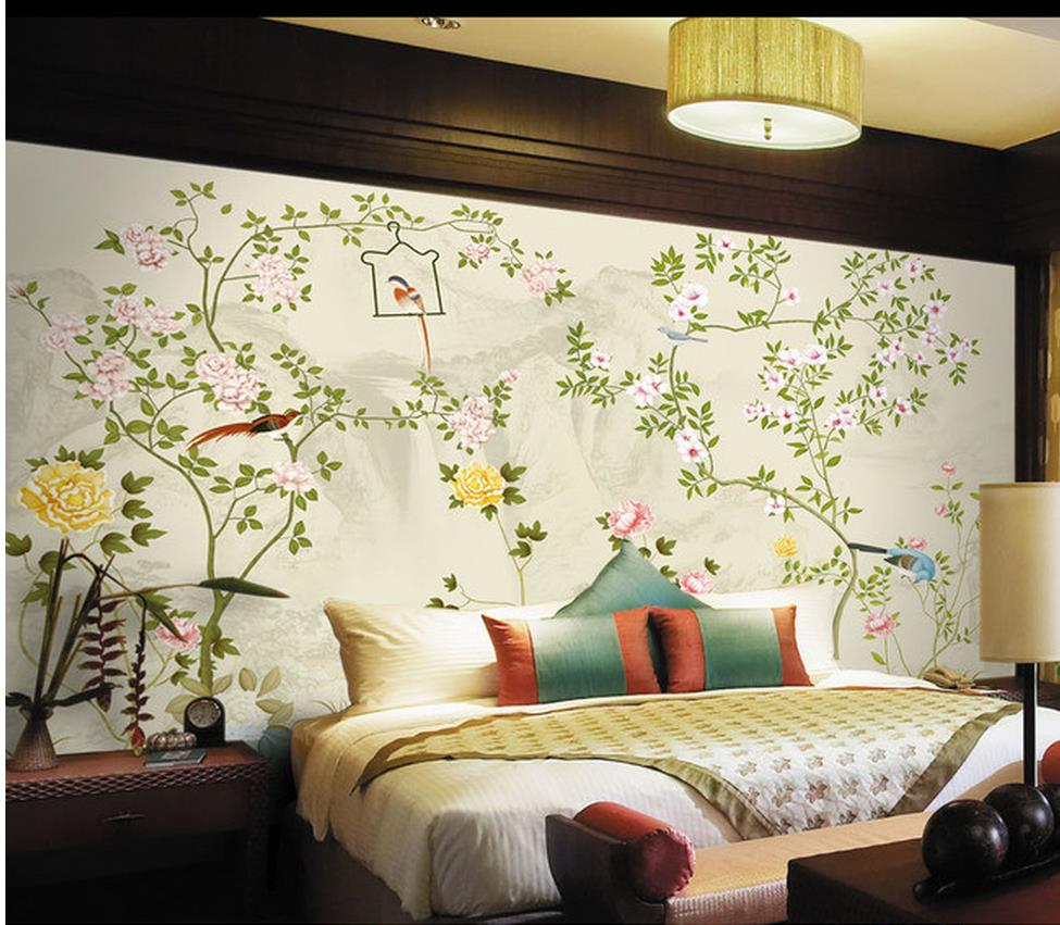 online get cheap hand painted mural aliexpress com alibaba group murals hand painted flowers and birds tv background wall living 3d wallpaper custom 3d photo wallpaper