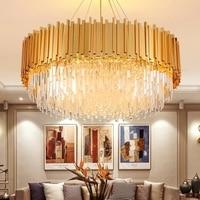American Modern Crystal Chandelier LED Gold Chandeliers Lighting Fixture Shining Luxury Lamps Hotel Lobby Home Indoor Lighting