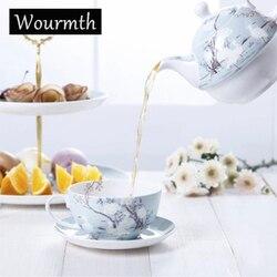 Wourmth 3 pçs branco guindaste osso china chá conjunto europa porcelana bule com xícara de chá pires água pot teatime drinkware
