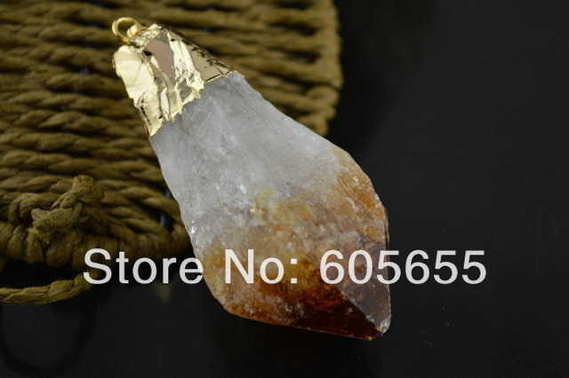 Gold Plated Bail Big Natural Citrine Quartz Point Pendants Surface cutting Stone fit Fashion Jewelry Necklace Making Free Ship