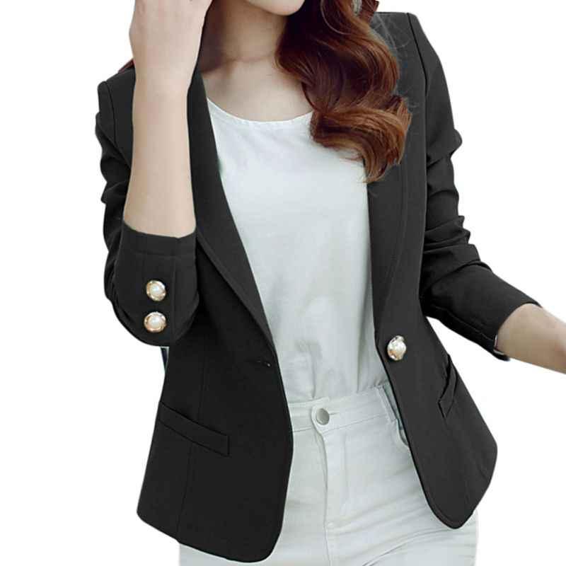 Rosa amarillo negro las mujeres americanas 2018 primavera otoño botón Plus tamaño BlaserOffice dama elegante chaqueta de manga larga con F2