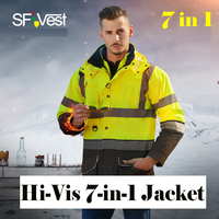 SFVest High Visibility EN20471 ANSI 107 Class III Reflective Jacket Removable Detachable 7 In 1 Parka