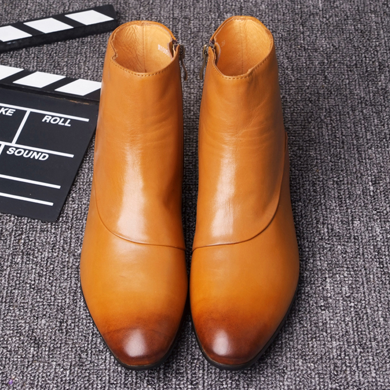 Ankle boots dress shoes men pointed toes genuine leather high top casual shoes sewing side zipper smart casual martin boots недорого