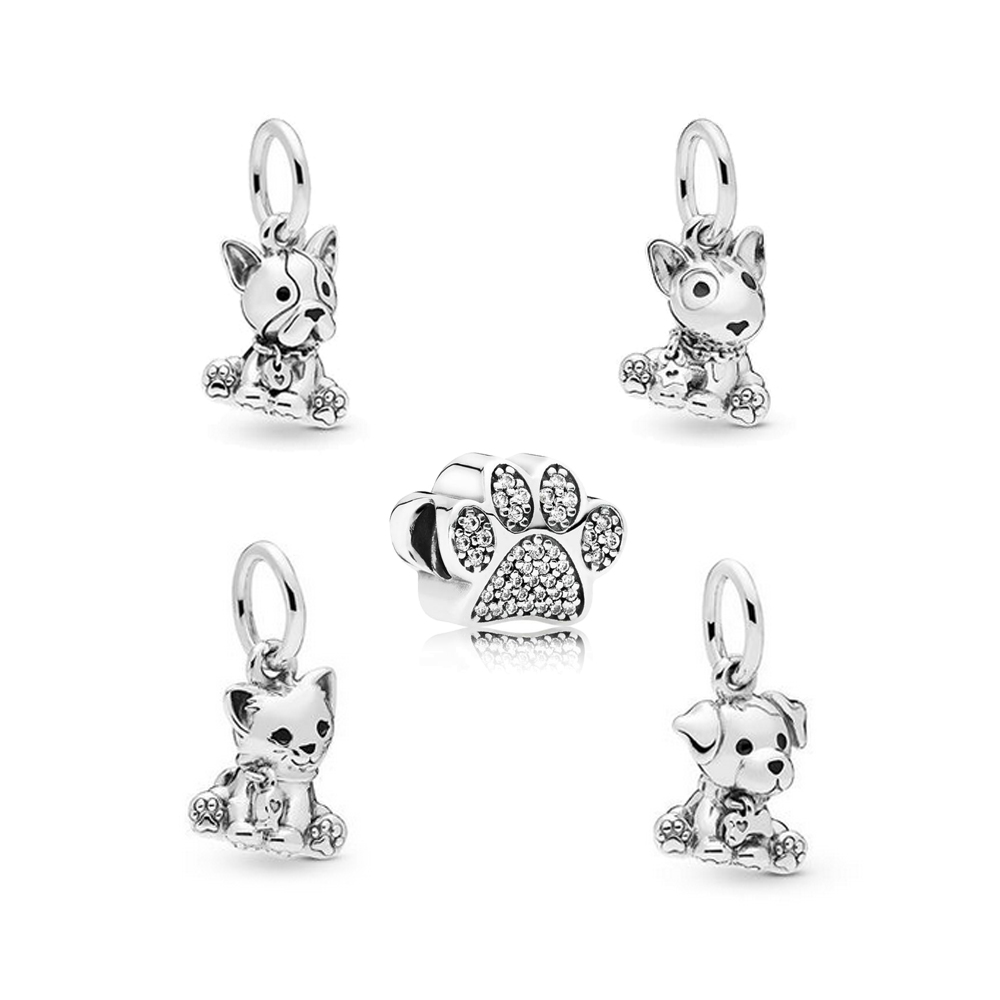 CKK Beads Puppy Paw Prints Bowl Charm Authentic 925 Sterling Silver Original Pandora Bracelet Charms Beads For Jewelry Making
