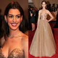 2017 Anne Hathaway A Linha Vestido de Noite Querida Tulle Champagne Com Ouro Lantejoulas Red Carpet Celebrity Dresses