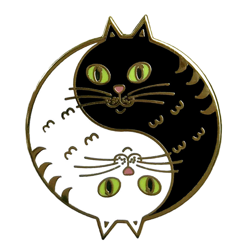 Cats Intertwined Black and White Timeless Enamel Pin Badge|Pins & Badges| - AliExpress