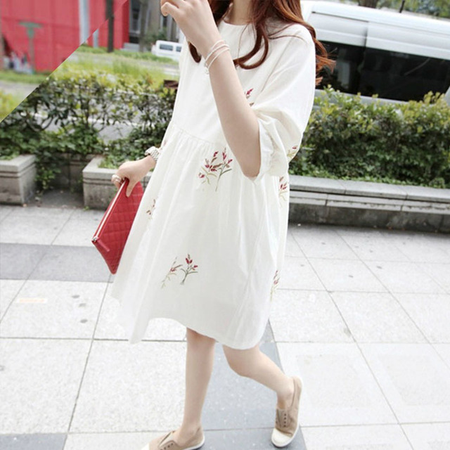22bcd35e11d Summer Wear Princess Fashion Cute Embroidery Dresses Maternity Clothes For Pregnant  Women Elegant Ladies Pregnancy Clothing