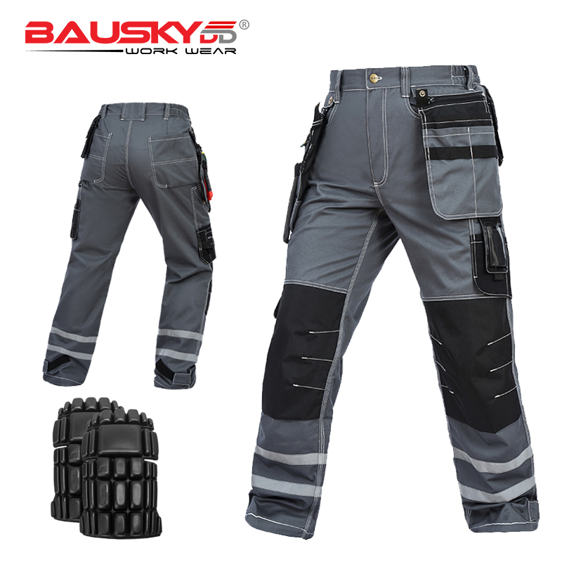 Carperner 100% cotton grey mens multi pockets work trousers knee pads work pants with reflective stripesCarperner 100% cotton grey mens multi pockets work trousers knee pads work pants with reflective stripes