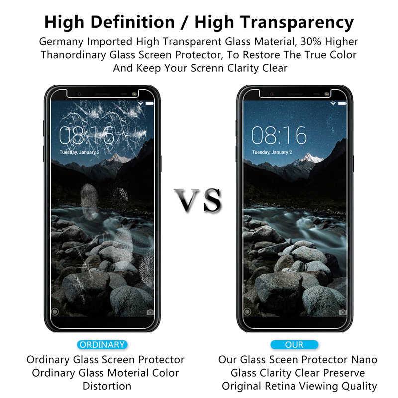 2PCS Protective Film Glass For Samsung Galaxy J4 J6 Plus J8 A7 A9 A6 Plus 2018 Note 3 4 5 Tempered Glass Screen Protectors Film