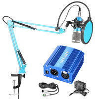 Neewer NW 800 Pro Condenser Mic and 48V Phantom Power Supply Kit with NW 35 Boom Scissor Arm Stand, Shock Mount and Pop Filter