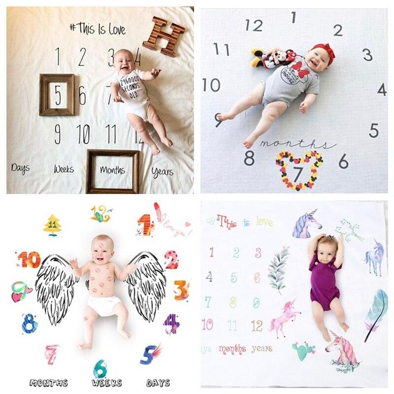100x100cm Baby Milestone Blanket Photo Photography Prop Blankets Backdrop Cloth Calendar Infant Bebe Boy Girl Photo Accessories