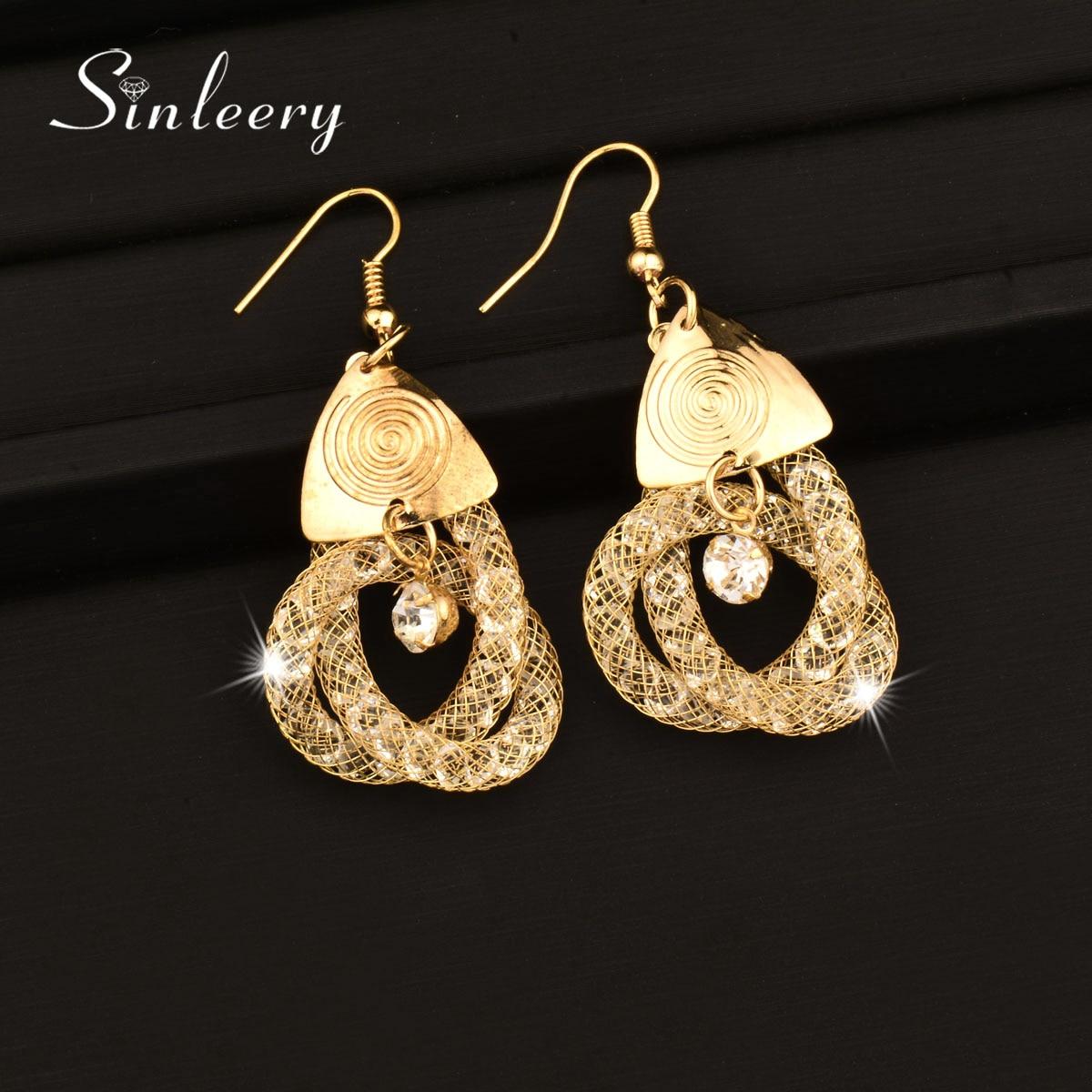 Sinleery Fashion Mesh Rhinestone Inside Knot Shaped Earrings Gold Color  Long Dangle Earrings African Jewelry Es095