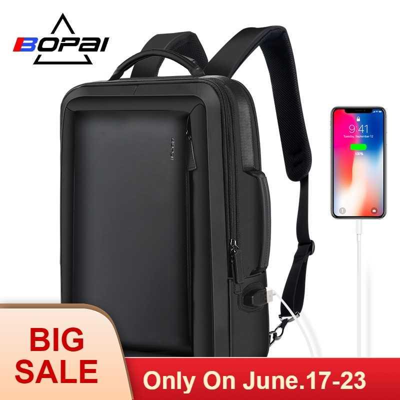 BOPAI лучший профессиональный мужской деловой рюкзак для путешествий водонепроницаемый тонкий рюкзак для ноутбука школьная сумка офисный мужской рюкзак кожаная сумка