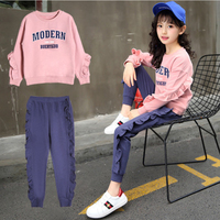 2PCS Girls Sportswear Autumn Irregular Ruffled Long Sleeve Pullover+Pants Kids Clothes Casual Cute Comfortable Children Clothing