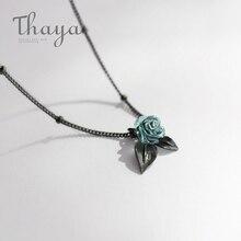 Thaya Echtes s925 Silber Blau Rose Blume Kristall Anhänger Halskette Pflanzen Schmuck Damen für Halskette Frauen Punk Stil