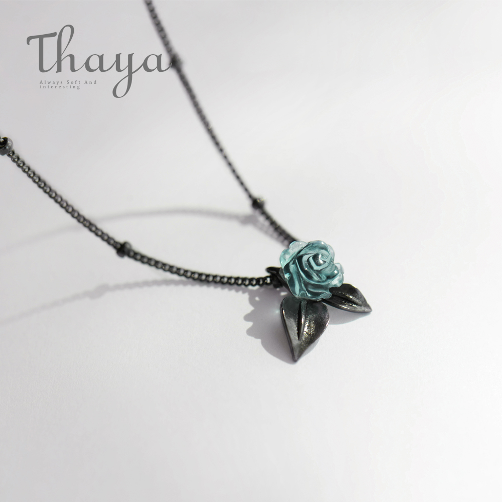 Thaya Genuine S925 Silver Blue Rose Flower Crystal Pendant Necklace Plant Jewelry Ladies For Necklace Women Punk Style