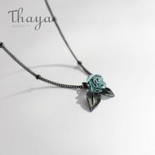 Thaya genuíno s925 prata azul rosa flor pingente de cristal colar planta jóias senhoras para colar feminino estilo punk