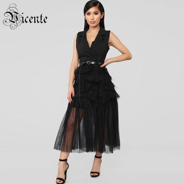 Vicente HOT Fashion Cascading Ruffles Midi Dress Sexy Sleeveless Turn-downn Collar With Belt Wholesale Celebrity Party Dress
