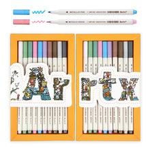 Arrtx AMP 1500 מתכתי צבע עטים בסדר נקודה & רך מברשת 20 מתכנן עטים מתאים DIY אלבום תמונות /רוק ציור