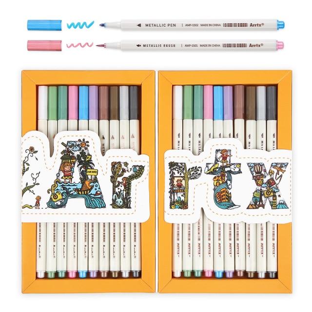 Arrtx AMP 1500 Metallic Color Pens Fine Point & Soft Brush 20 Planner Pens Suitable for DIY Photo Album/Rock Painting