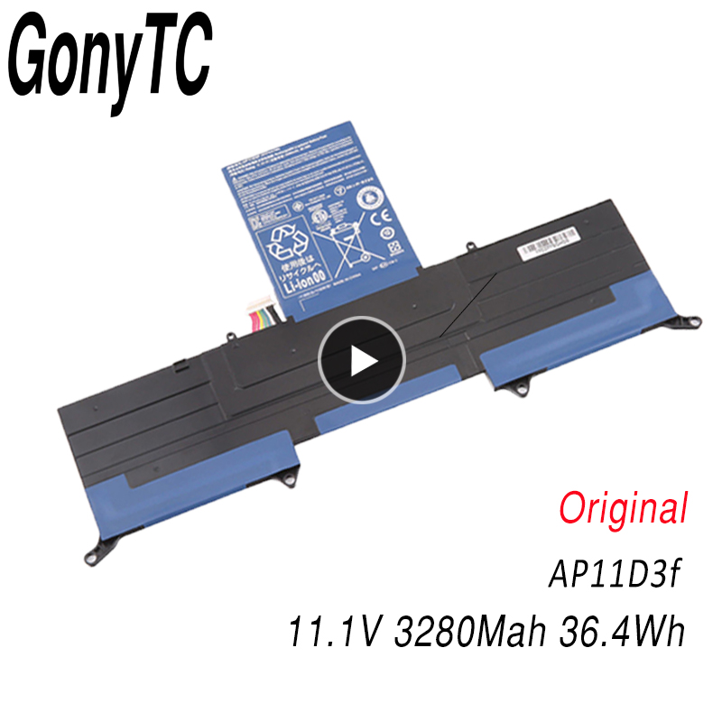 GONYTC Original <font><b>AP11D3F</b></font> Battery For Acer for Aspire S3 S3-951 S3-391 One MS2346 <font><b>AP11D3F</b></font> AP11D4F 3ICP5/65/88 3ICP5/67/90 3280mAh image